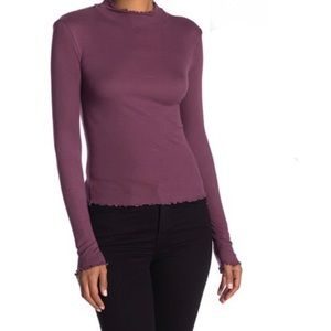Abound Lettuce Edge Knit Top Purple NWT